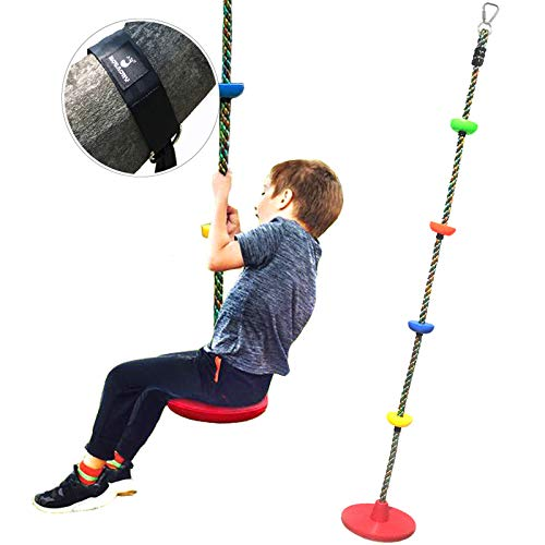 ROTAONY Tree Swing Climbing Rope with Platforms and Disc Swing Seat - Outdoor Playground Swing Set Accessories for Kids, Ninja Line Accessories with Tree Strap, Multicolor