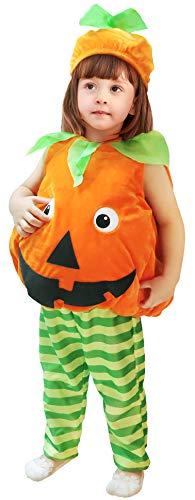 Disfraz de calabaza para bebé, mono para niños pequeños, trajes unisex para fiesta de disfraces de Halloween, trajes de 3 piezas