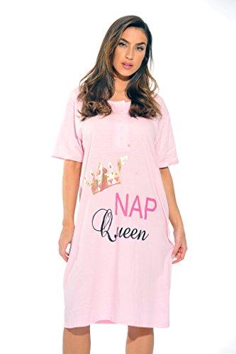 4361-J-48-1X Just Love Short Sleeve Nightgown / Sleep Dress for Women / Sleepwear,Light Pink - Nap Queen,1X Plus
