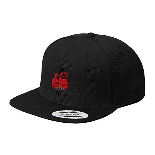 Speedy Pros Boxing Gloves Embroidered Flat Visor Snapback Hat Black