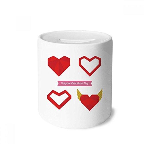 DIYthinker Rojo Abstracto del corazón de Navidad Origami Caja de Dinero de Las Cajas de ahorros de cerámica Adultos Moneda de la Caja para niños