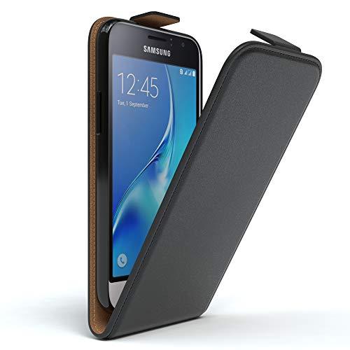 EAZY CASE Hülle kompatibel mit Samsung Galaxy J1 (2016) Hülle Flip Cover zum Aufklappen, Handyhülle aufklappbar, Schutzhülle, Flipcover, Flipcase, Flipstyle Case vertikal klappbar, Kunstleder, Schwarz