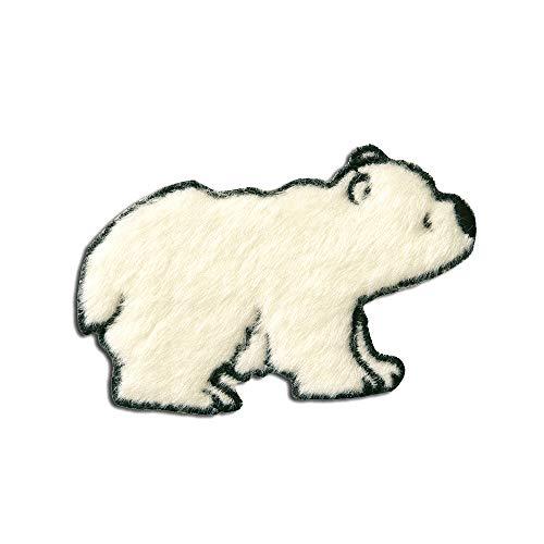 Aufnäher/Bügelbild - Eisbär Plüsch Tier Kinder - weiß - 5x7,9cm - Patch Aufbügler Applikationen zum aufbügeln Applikation Patches Flicken