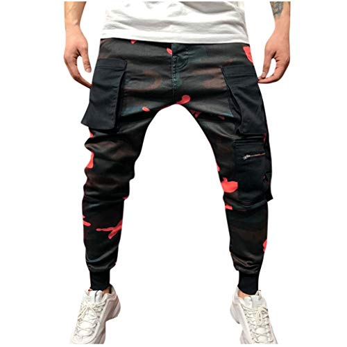 ZHANSANFM Cargo Hose Herren Camouflage Jogginghose Lang Streetwear Militär Outdoorhose Hip Hop Style Lose Sweatpants Stretch Dünn Knöchel Hosen Mode Regular Fit Freizeithosen (3XL, Orange)