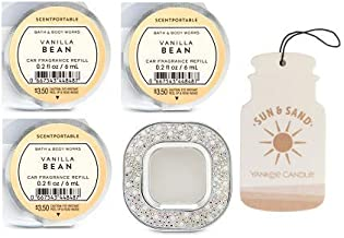 Bath and Body Works Pearls & Gems Visor Clip Car Fragrance Holder and 3 Scentportable Vanilla Bean. Paperboard Car Fragrance Sun & Sand.