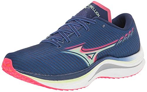 Mizuno Men's Wave Rebellion Running Shoe, Blue-Paradise Pink, 10.5