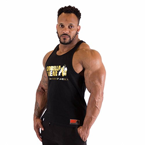 GORILLA WEAR - Herren Gym Shirt - Classic Stringer Tank Top - S bis 3XL Bodybuilding Fitness Muskelshirt Schwarz Gold M