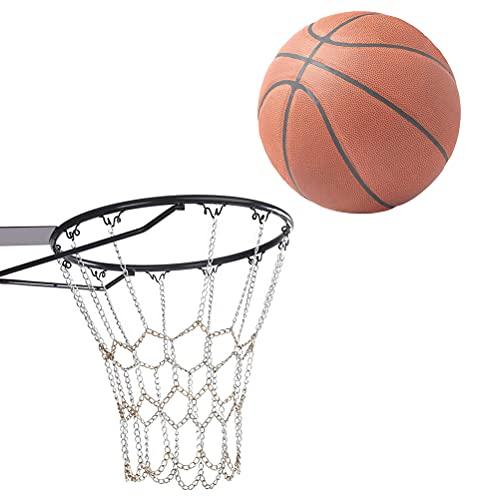 MOPOIN Red de Baloncesto de Metal, aro de Baloncesto para Exteriores Red de Baloncesto de Acero portátil Red de Baloncesto de Acero Inoxidable 12 Ganchos para Uso en Interiores o Exteriores