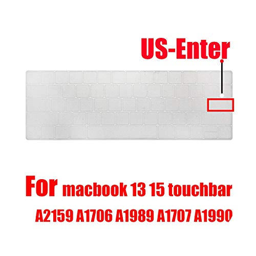 for MacBook pro13 15 touchbar Keyboard Cover Russian Laptop Keyboard Protective Film Skin Keyboard case A2159 A1707A1989A1990-US Silicone Clear-