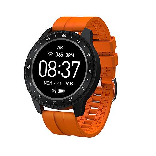 Yumanluo Reloj Inteligente Mujer Hombre,IP68 a Prueba de Agua, frecuencia cardíaca/presión Arterial/monitorización del sueño, Naranja Vibrante,Pulsera de Actividad Inteligente Reloj Deportivo