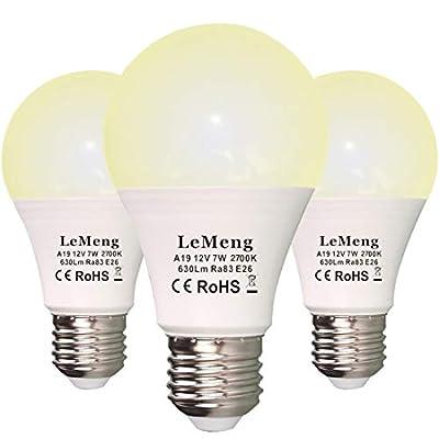LeMeng 12V LED Light Bulb 7W AC/DC 12volt Low Voltage(2700K Warm White) 60Watt A19 Bulbs Equivalent E26 Base- Landscape RV 12 Volt Battery Power System Off Grid Solar Lighting,Pack of 3