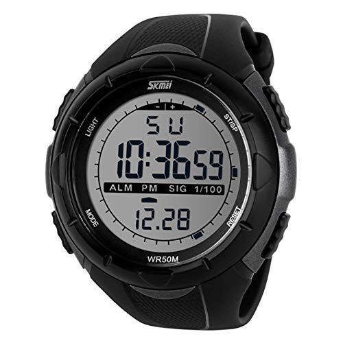 JTTM Deportivo LED Reloj Digital De Cuarzo con Correa De Gaucho Esfera Grande Multifunción Alarma Cronómetro Calendario Waterproof Wrist Watch para Hombre Chico 3 Colores A Elegir,Titanium