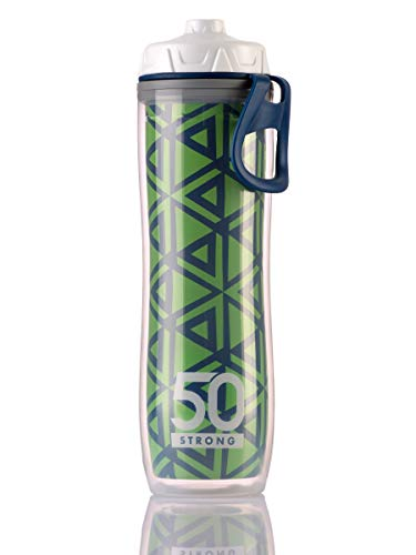 Insulated Bike Water Bottle - 24 oz. Sports Bottle W/ One-Way Valve - Double Walled Plastic Design Keeps Drinks Cold - BPA Free - Lightweight & Leakproof - Perfect for Hiking (Green Arrows, 1 Bottle)