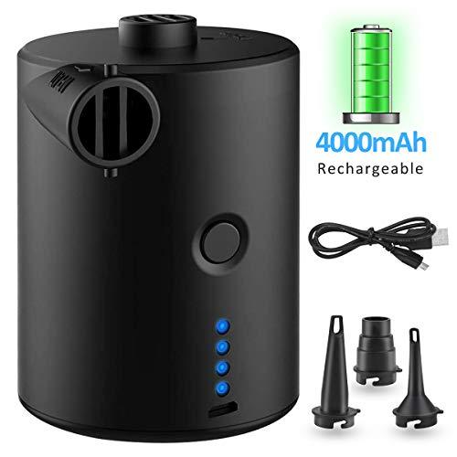 IREGRO Elektrische Luftpumpe, Elektrische Pumpe mit 4000mAh Akku, Mini Tragbare Luftpumpe, USB Luftmatratze Pumpe, mit 3 Luftdüse, für Luftmatratze, Isomatte, Kissen, Bett, Schlauchboot, Schwimmring
