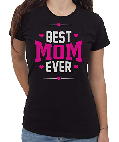 IMAGE - Camiseta con texto en inglés 'Best Mom Ever Mamma' negra Mujer Large