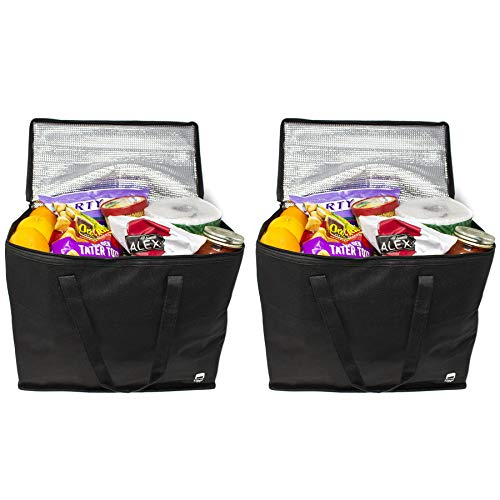 Rippl Insulated Grocery Bag - Reusable Grocery Bags - Foldable with Zipper Top - Set of 2 in Black