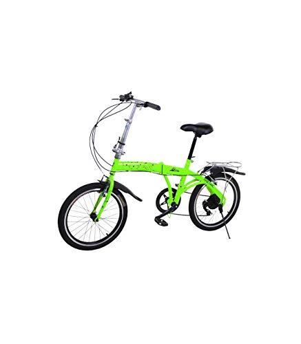 Riscko Bicicleta Plegable Metric Verde Fluor con 7 Velocidades Manillar y Sillín Ajustables