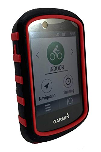 TUFF LUV Silicone Twin Dual layer Double Protective Skin Case for Garmin Edge 830 - Black/Red