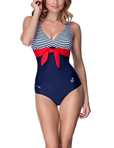 Aqua Speed® Aqua Einteiliger Badeanzug (U-Rückenausschnitt Anker Cups Schleife Maritim Malaga), Modell:Aqua;Größen:36