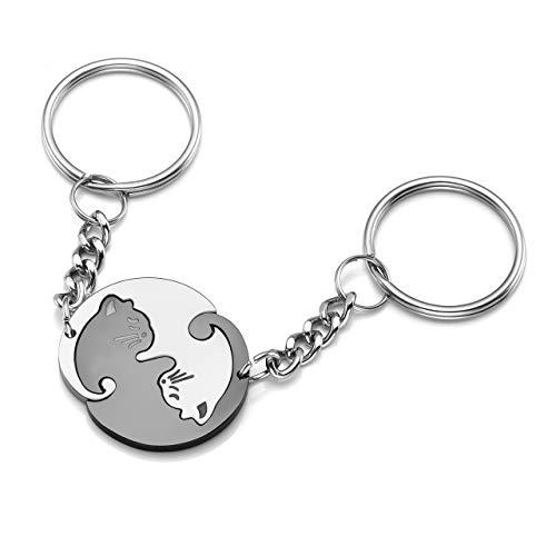 Zysta Personalized Gravur- Edelstahl YinYangSchlüsselanhänger Taichi Fengshui Schwarz Weiß Katzen PuzzleAnhänger Schlüsselbund Schlüsselring Geschenke für PärchenFreundschaft (Non- Gravur)