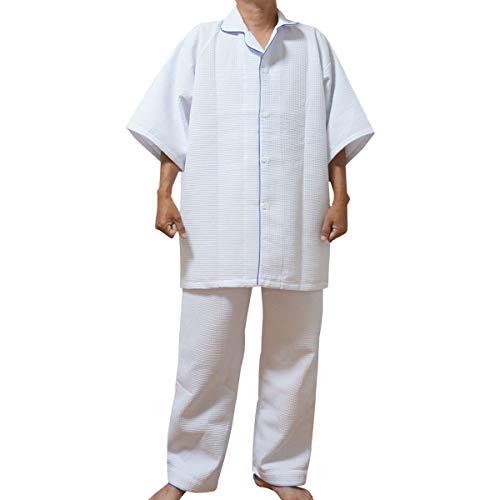 パジャマ(業務用)ワッフル生地 ボタン開きパジャマ(上下セット) 大人男女兼用 Fフリーサイズ ホワイト ホテル 旅館 民宿 民泊など