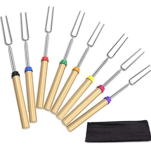 Palos para asar malvavisco, kit de barras de asado, 8 tenedores telescópicos y bolsa de alta calidad, tenedores para tostar, extensibles