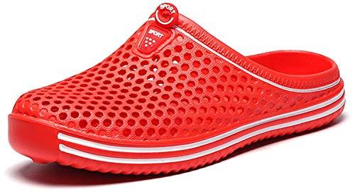 Unisex-Schuhe, atmungsaktiv, geschlossen, Gartenschuhe, Sommer, Liebhaber, Hausschuhe, Strand, Sandalen, Männer und Frauen, Schwimmbad, Sandalen, Hausschuhe, Rot - Pure Red - Größe: 45 EU