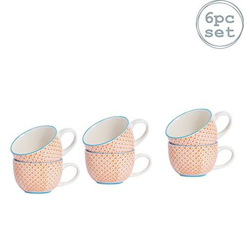 Nicola Spring Tasses à Cappuccino/à café/à thé Fantaisie et Vintage avec Motifs Orange - Boîte de 6