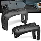 G-PLUS 4 Piece Pocket Bolt-Riveted Style Fender Flares Compatible for Chevy 2007-2013 Silverado 1500 (ONLY Fit 69.3' Short Bed) (Excludes 07 Classic Models)   Paintable Smooth Black