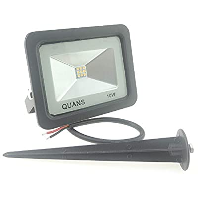 QUANS 10W Warm White 12V 24V 36V 48V 60V DC AC LED Outdoor Security Wash Marine Wall Flood Light Lamp, IP65 Waterproof 12-60VDC AC Input Low Voltage No Plug, 8 Pack with Stake Spike Stand