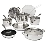 Goodful Classic Stainless Steel Cookware Set with Tri-Ply Base, Impact Bonded Pots