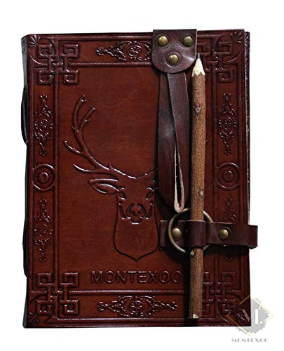 Vintage Handmade Large Leather Journal Writing Notebook Handcrafted Bound Daily Notepad Dnd Book of shadows brown