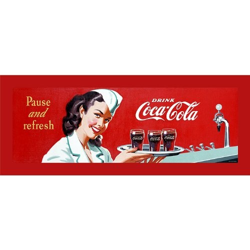 Trademark Markenzeichen Coke Kellnerin Gespannte Leinwand Print 12x 36–Zoll
