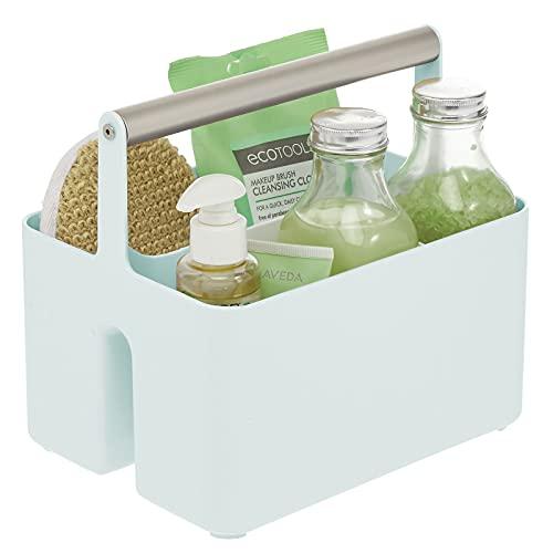 mDesign Caja organizadora para cuarto de baño – Práctica cesta con asa para el almacenamiento de cosméticos – Organizador de baño portátil con 4 compartimentos – verde menta/plateado mate