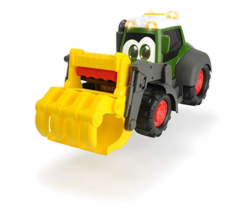 Dickie Toys Happy Fendt Worker - Excavadora de Juguete con Garra mecánica sobre el Mango, Coche de Juguete para niños a Partir de 1 año, Rueda Libre, luz y Sonido, Incluye Pilas, 30 cm, Color Verde