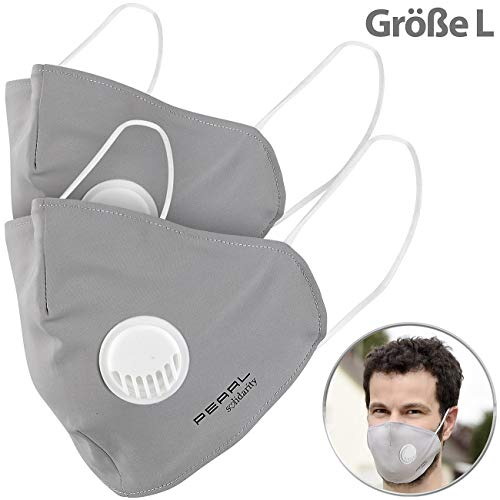PEARL Mund Nasenschutz: Mund-Nasen-Stoffmaske, Ventil, Nanofilter (98,9%), Größe L, 2er-Set (Nano Masken)