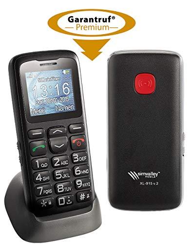 simvalley MOBILE schnurlos Telefon: Komfort-Handy XL-915 V2 mit Garantruf & Ladestation (Notruftelefon)
