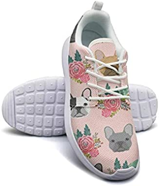 Pink French Bulldog Flowers Florals Running Shoes Lightweight Women Sneaker Workout Soft Sole Shoes