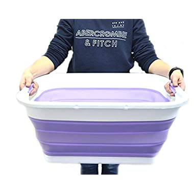 SAMMART Collapsible Plastic Laundry Basket - Foldable Pop Up Storage Container/Organizer - Portable Washing Tub - Space Saving Hamper/Basket (2 Handled, Lt. Purple)