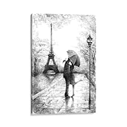 INTALENCE ART Unique Romantic Paris Wall Decor, 8x12in Canvas Wall Art Eiffel Tower Print on Canvas, Modern Home and Office Decoration. Premium Giclee Print Gallery Wrap Black and White Easy to Hang.