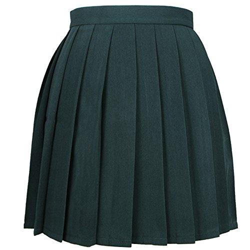 iSpchen Butterme Mujeres Beil?ufige Alto Entallada de Plegado Cosplay Disfraces Faldas Uniforme de la Escuela de a Line Mini Vestido Verde Oscuro Verde Oscuro XXX-Large