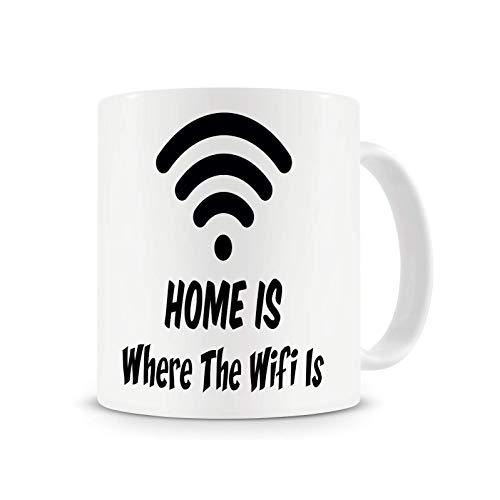 El hogar es donde está la taza de wifi, taza de té de café con taza divertida de nerd friki 11oz