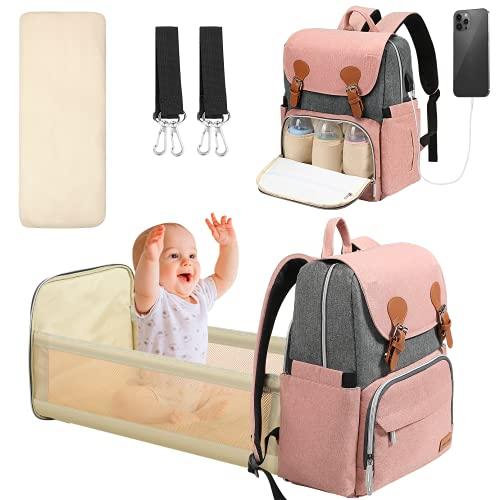 Yoofoss Mochilas de Pañales Bebé Bolsa de Pañales Mamá Cuna Portátil Bolsos cambiadores Multifuncional Gran Capacidad Bolsos Cambiadores Pañales Impermeable