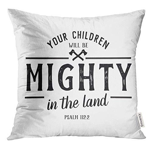 485 Protectora De Almohada 45x45cm Fundas De Almohada Jesus Your Children Will Be Mighty In The Land Verse Psalms Design Inspiration Tirar Almohada Cojin