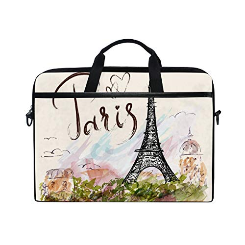 ZZAEO Stylish Pattern Paris Eiffel Tower Laptop Shoulder Bag Stylish Briefcase Computer Bag with Shoulder Strap Fits for Most 13inch 14inch Laptops Case Sleeve