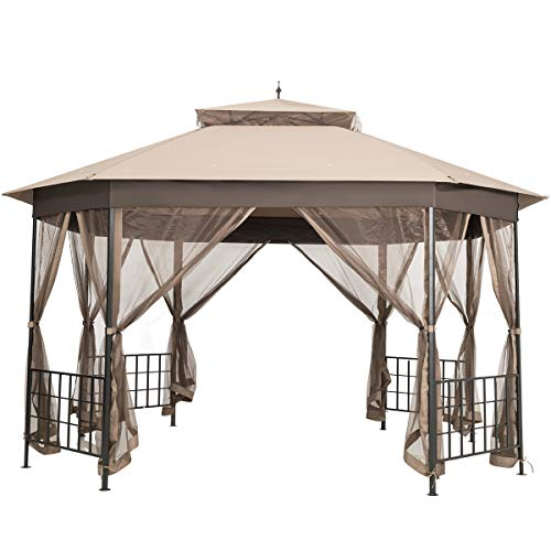 Tangkula 10 x 12 Ft Patio Gazebo, Heavy Duty Octagonal Canopy Tent w/Netting Sidewalls and Sturdy Steel Frame, Double Roof Vented Gazebo Canopy Shelter for Backyard Event Party BBQ (Brown)