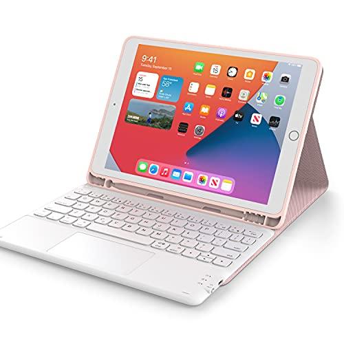 iPad 8世代 キーボード ケース タッチパッド付き ipad 10.2 キーボード ケースiPad7世代キーボード[2020/2019モデル] Bluetooth キーボードカバー オートスリープ 脱着式 多角度調整 傷つけ防止 耐久性 [ペンシルホルダー付き] 最新型スマート薄型ケースキーボード 丸いキー可愛いキー マグネット付きワイヤレスアイパッド10.2インチキーボード[ iPad 10.2/iPad Air3/Pro 10.5(2017)兼用] ピンク