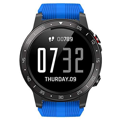 Reloj Inteligente Bluetooth rastreador de Fitness al Aire Libre IP67 Relojes Deportivos Impermeables con presión Arterial Monitor de sueño Monitor de calorías podómetro GPS cronómetro brújula (Blue)