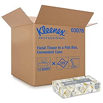 Kleenex Professional Facial Tissue for Business  03076  Flat Tissue Boxes 12 Boxes / Convenience Case 125 Tissues / Box