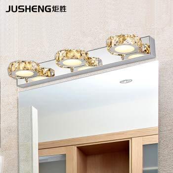 YU-K Moderne wandlamp LED kristal glas front roestvrij staal ijdelheid wandlampen, 5 kop, champagne Crystal, warm licht